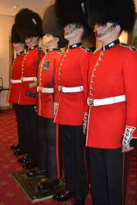 Grenadier Guardsmen on parade with Life sized cake