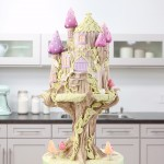 Rosie Cake-Diva Fairy Kingdom Cake Tree Structure Cake with Bark Turrets and Mushrooms Pedestal Stand