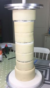 Cake Structure for Valentine's Day Cupid Cake