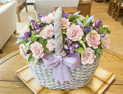 Cake Basket and edible flowers