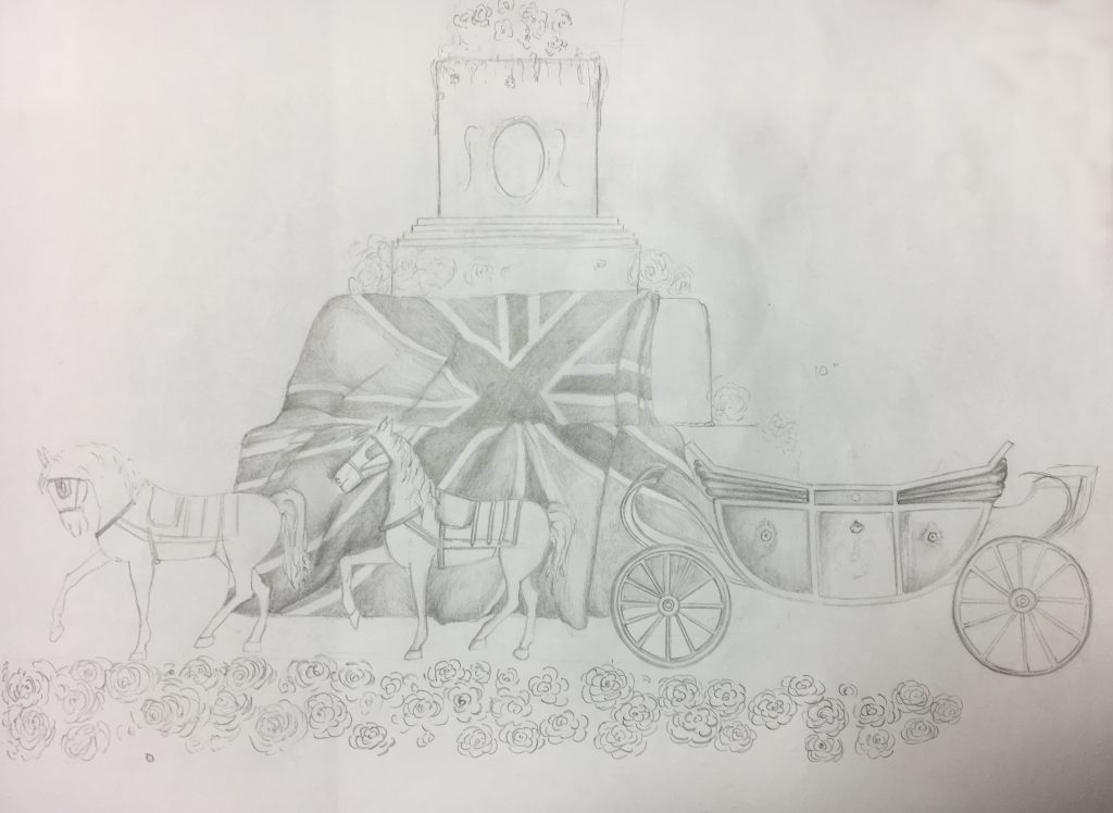 Royal Wedding Cake Sketch by Rosie Cake Diva